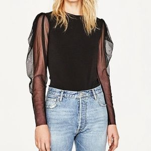 Zara Black Body Suit with Mesh Long Sleeves